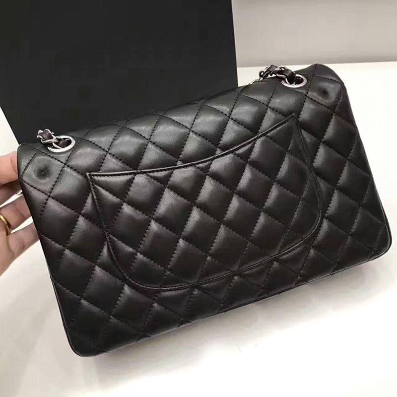Classiques femmes de haute qualité agneau flap sacs à bandoulière marque de luxe carré rayé sac chaîne woc caviar en cuir sacs à main