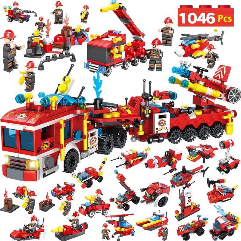 1046PCS Fire Brigade Truck Car Building Blocks Model Compatible LegoINGLY City Fire Station Bricks Police Toys For Boy Children