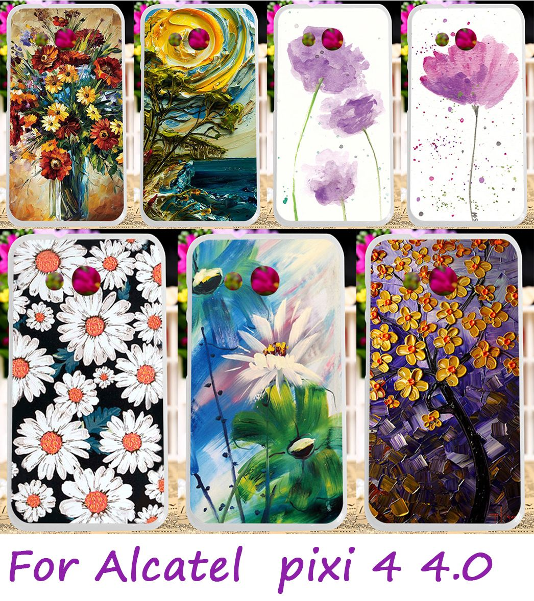 AKABEILA Soft TPU Mobile Phone Case For alcatel OneTouch Pixi 4 4.0 inch OT4034 4034D 4034X 4034M One Touch Pixi4 4034 Diy Cover