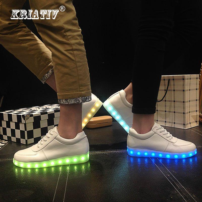 KRIATIV LED Usb chaussures lumineux sneakers Lumière up Chaussons faire avec des Lumières Up Led fille chaussures tenis Baskets Lumineuses infantile