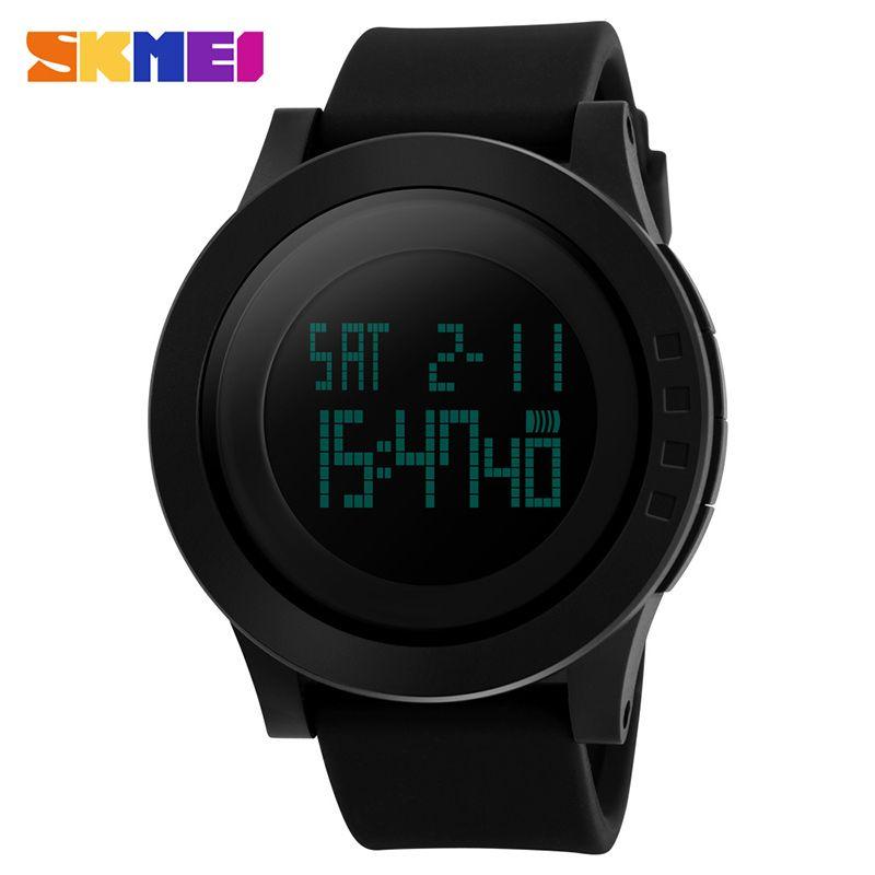 SKMEI Large Dial <font><b>Outdoor</b></font> Men Sports Watches LED Digital Wristwatches Waterproof Alarm Chrono Calendar Fashion Casual Watch 1142