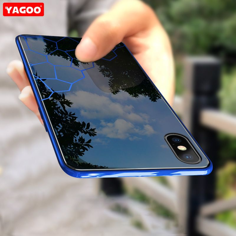 YAGOO Phone Case For iPhone XS MAX XR X 7 Plus 8+Tempered Glass Back Case Cover For Apple iPhone XS Max 6S 7 8 Plus Coque Fundas