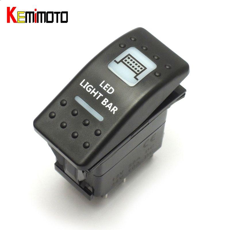 KEMiMOTO Rocker Switch Illuminated LED Light Bar For Can Am Maverick Commander 16 UTV For Yamaha for Polaris Ranger