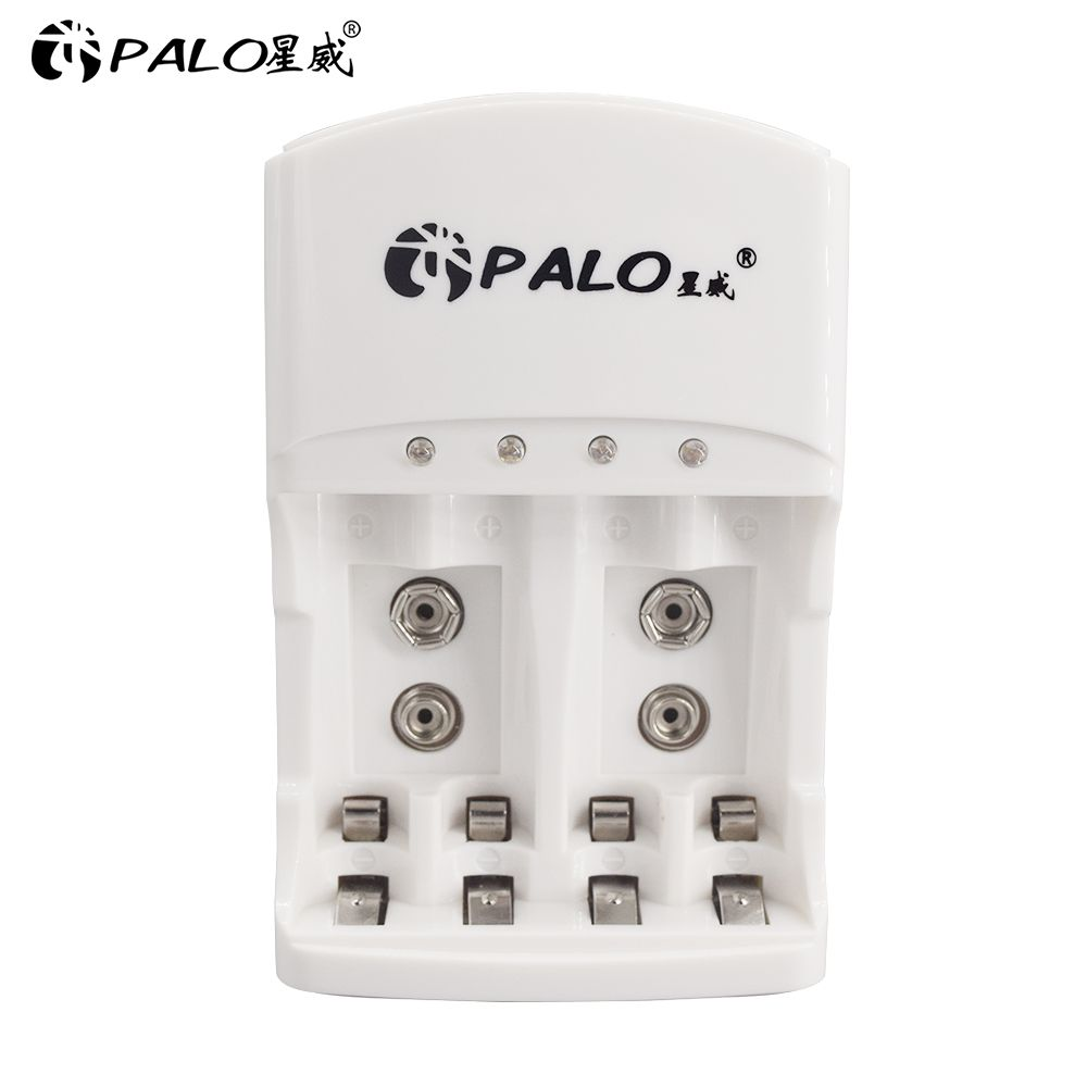 Chargeur de batterie universel PALO 4 emplacements automatique pour AA/AAA NI-MH/NI-CD chargeur de piles rechargeables 9 v 6F22 AA/AAA