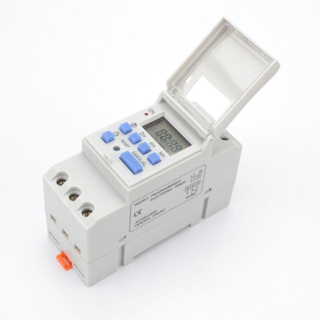 1 pc Numérique Programmable Minuterie Interrupteur AC 220 v/110 v DC 12 v 16A Temporizador Rail Din Minuterie commutateur tout neuf et de haute qualité