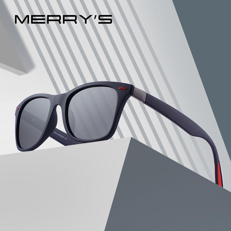 MERRY'S DESIGN <font><b>Men</b></font> Women Classic Retro Rivet Polarized Sunglasses Lighter Design Square Frame 100% UV Protection S'8508