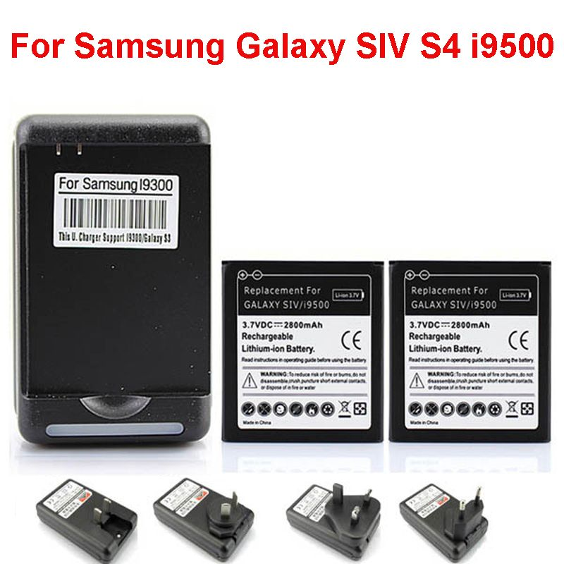 Free Shipping High Quality 2x Replacement Battery 2800mAh + USB Wall Charger for Samsung Galaxy SIV S4 i9500