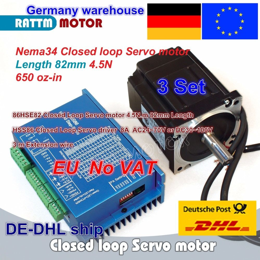 DE free 3 Sets Nema34 4.5N.m Closed Loop Servo motor Motor Kits 82mm 6A & HSS86 Hybrid Step-servo Driver 8A CNC Controller Kit