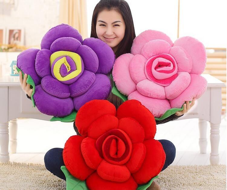 Multicolore Rose coussin doux décoratif canapé jeter oreiller créatif fleur tête cou reste oreiller chaise coussin literie oreiller