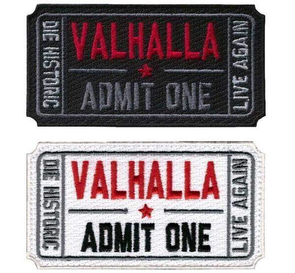 Ticket zu Valhalla Militär Patches Bestickt Moral Taktische Vikings Mad Max Armband Abzeichen Appliques für Kleidung mit Haken