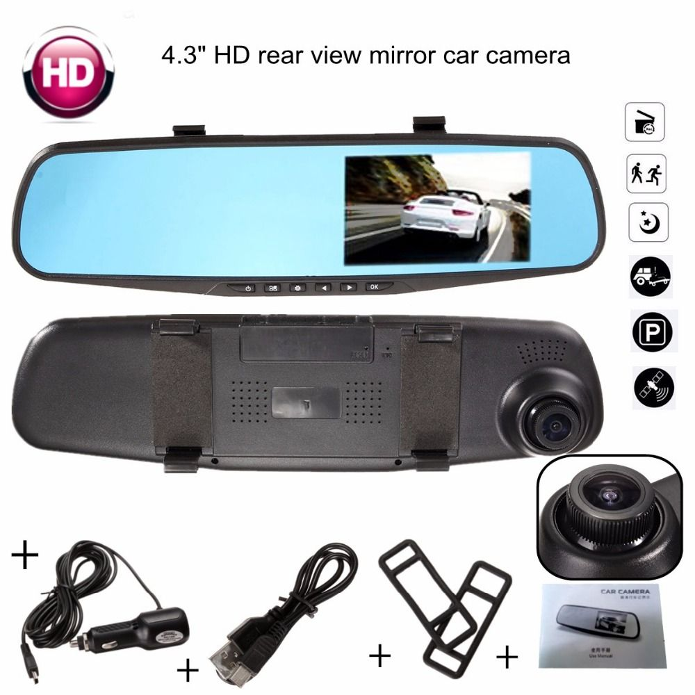 170Degree Full HD 1080P 4.3 Inch TFT LCD Video Recorder Dash Cam Rearview Mirror Car Camera DVR Digital Video Recorder