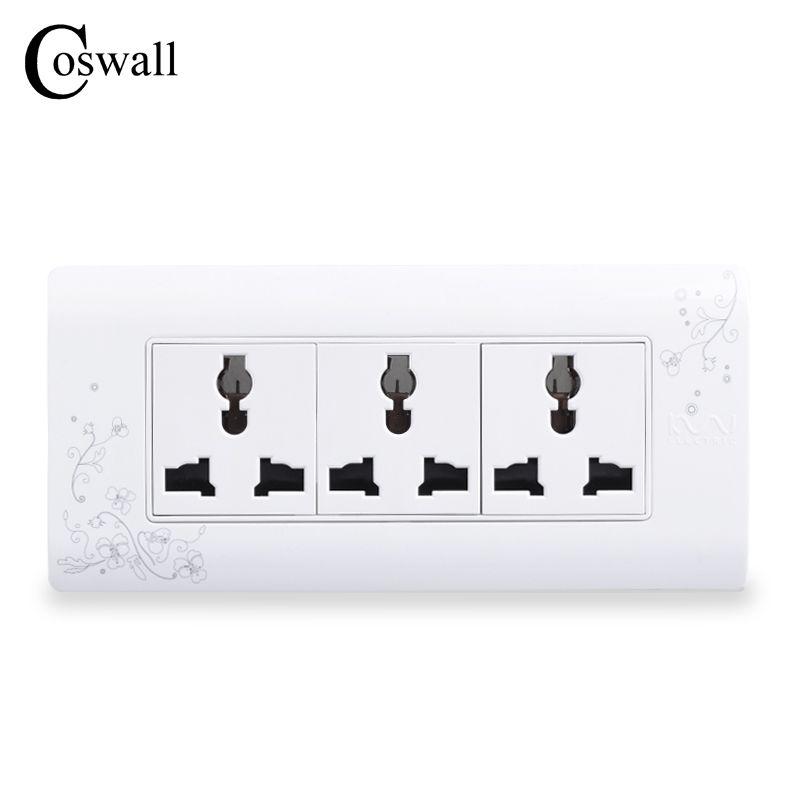 COSWALL Universal Plug Style Simple Mur Électrique Socket Multi-fonction 9 Trou Prise De Courant Avec Enfant De Protection Porte