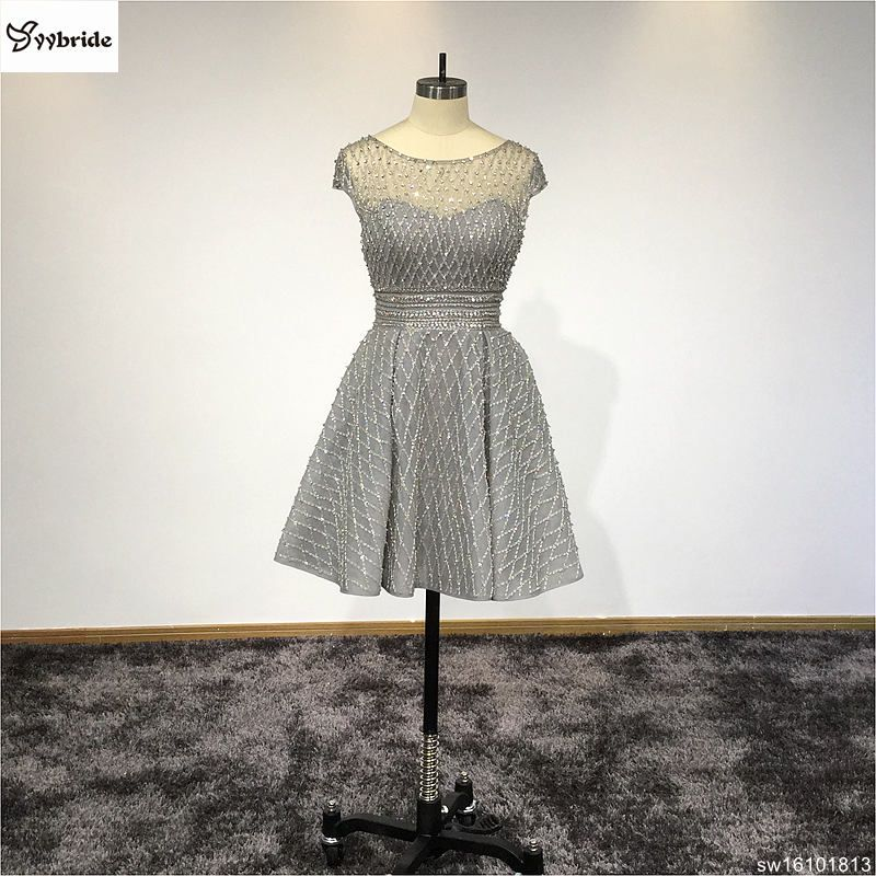 Real Custom Made Sliver Grey Scoop Neck A Line Short Cocktail Dresses