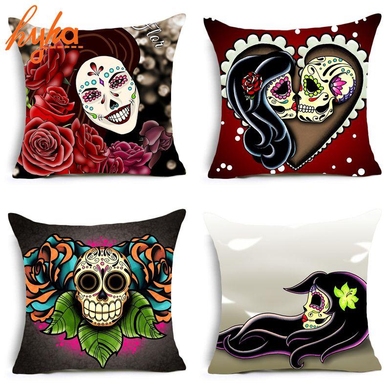 Hyha Flower Sugar Skull Polyester Love Skull Plant Rocking Punk Skull Pillows Cover Home Decorative Pillows 45*45 cm Cushion