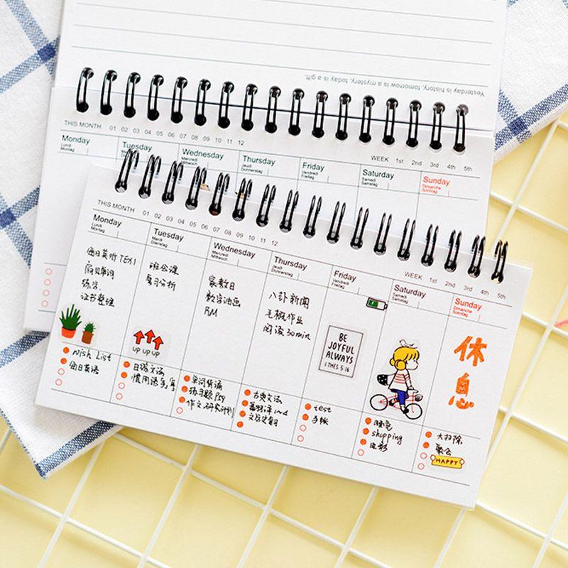 Nette Kawaii Cartoon Wochenplaner Coil Notebook Agenda Für Kinder Geschenk Koreanische Briefpapier Freies Verschiffen 2061
