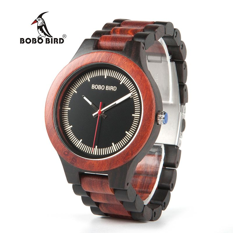 BOBO BIRD WO01O02 Wood Watch Ebony RedWood Pine Wooden Watches for Men Two-tone Wood Quartz Watch with Tool for Adjusting Size