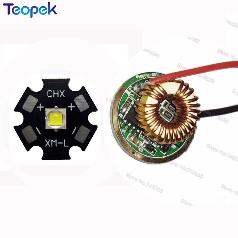 10 W Cree XM-L2 XML2 T6 LLEVÓ la Luz de 16/20 MM PCB Blanco Cálido blanco Neutro Blanco + 22mm 1/3/5 Modos De Controladores Para DIY Antorcha linterna