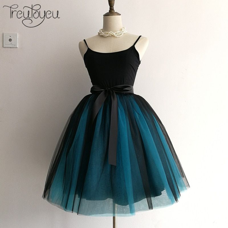 6 <font><b>Layers</b></font> 65cm Winter Tulle Skirt Midi Pleated Skirts Womens High Waist Gothic Tutu Femme Streetwear Falda Plisada Tule Rok