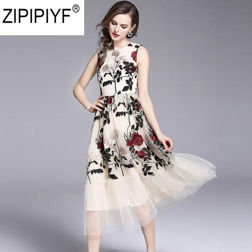 2018 Summer Fashion Patchwork Mesh Embroidery A-Line Dress Women O-Neck Sleeveless High Waist Mid-Calf Dresses Vestidos C1117