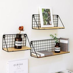 Iron Wall Shelf Rack Wall Mounted Organization Wooden Shelf For Kitchen Bedroom Home Decor Kid Room Storage Rack Wall Shelves