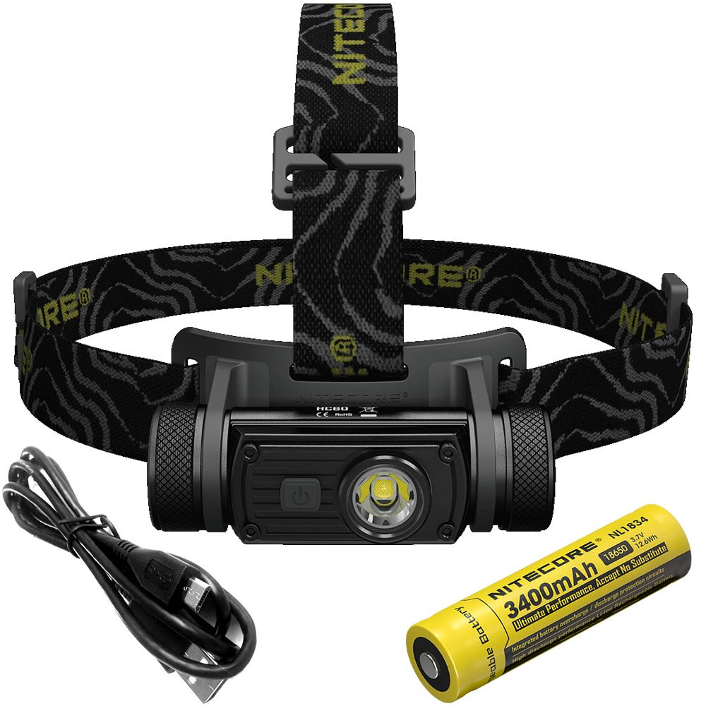 20%OFF NITECORE HC60 Headlamp CREE XM-L2 U2 1000LM Rechargeable Waterproof Flashlight 3400mAh 18650 Battery NL1834 Free shipping