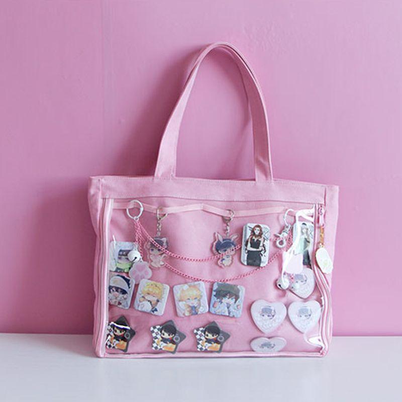 Japanischen Wego Ita Tasche Kawaii Transparente Fenster Lolita Leinwand Handtasche Schulter Tasche Candy Farbe Schöne Itabag
