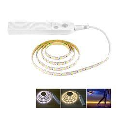 Sensor de movimiento de luz LED 5 V 1 m 2 m 3 m bajo cama gabinete luz impermeable armario Luz cocina decoración del hogar