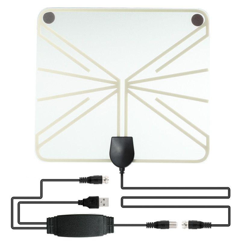 SOONHUA Amplifié HDTV Antenne 50-100 Miles Gamme Numérique Intérieur TV 1080 P HD Antenne Amplificateur de Signal Booster Transparent Style