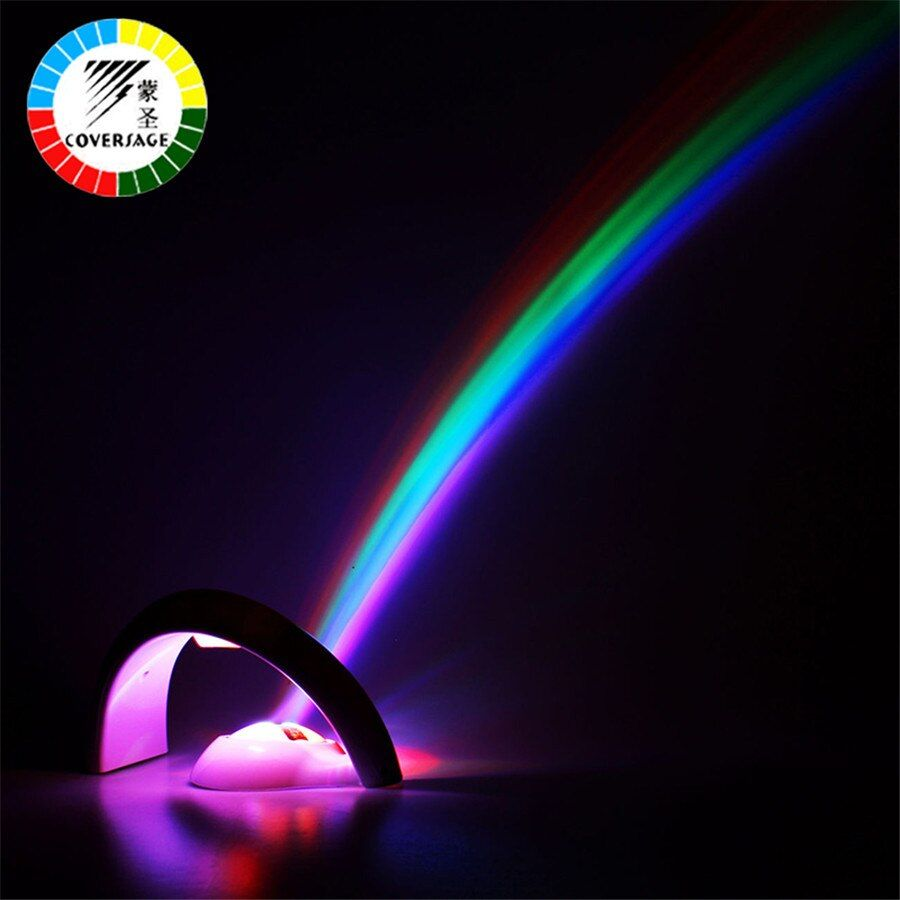 Coversage Rainbow <font><b>Night</b></font> Light Projector Children Kids Baby Sleeping Romantic Led Projection Lamp Atmosphere Novelty Home Lamps