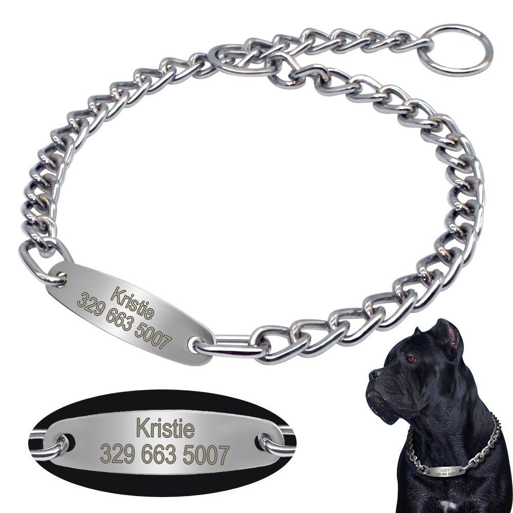 Personalized Pet Dog Chain Choke Collar Pets Training Engraved ID Slip Collars Choker For Medium Large Dogs Pitbull Pug Bulldog