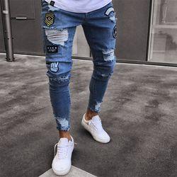 Hommes de Extensible Déchiré Jeans de Bande Dessinée Patch Motard Maigre Détruits Enregistré Jeans Slim Fit Noir Denim Pantalon 2018 Nouveau