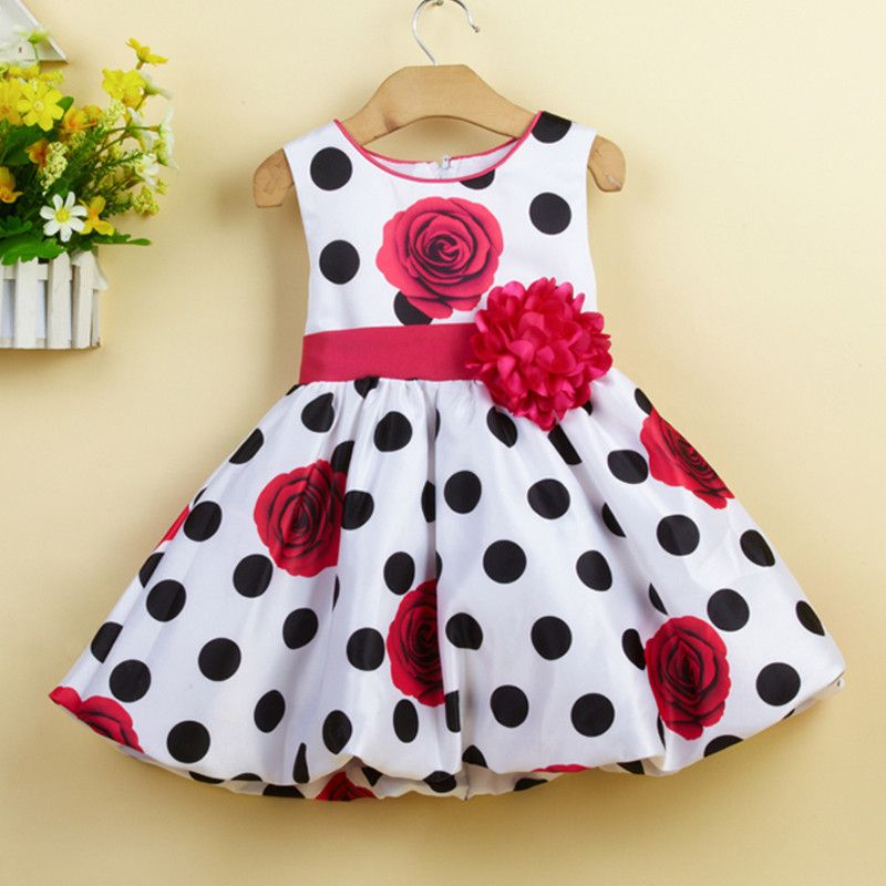 Baby Girls Dress Black Dot Infant Summer Dress Baby Girl <font><b>Party</b></font> Dress Print Big Floral Dress L1232xz