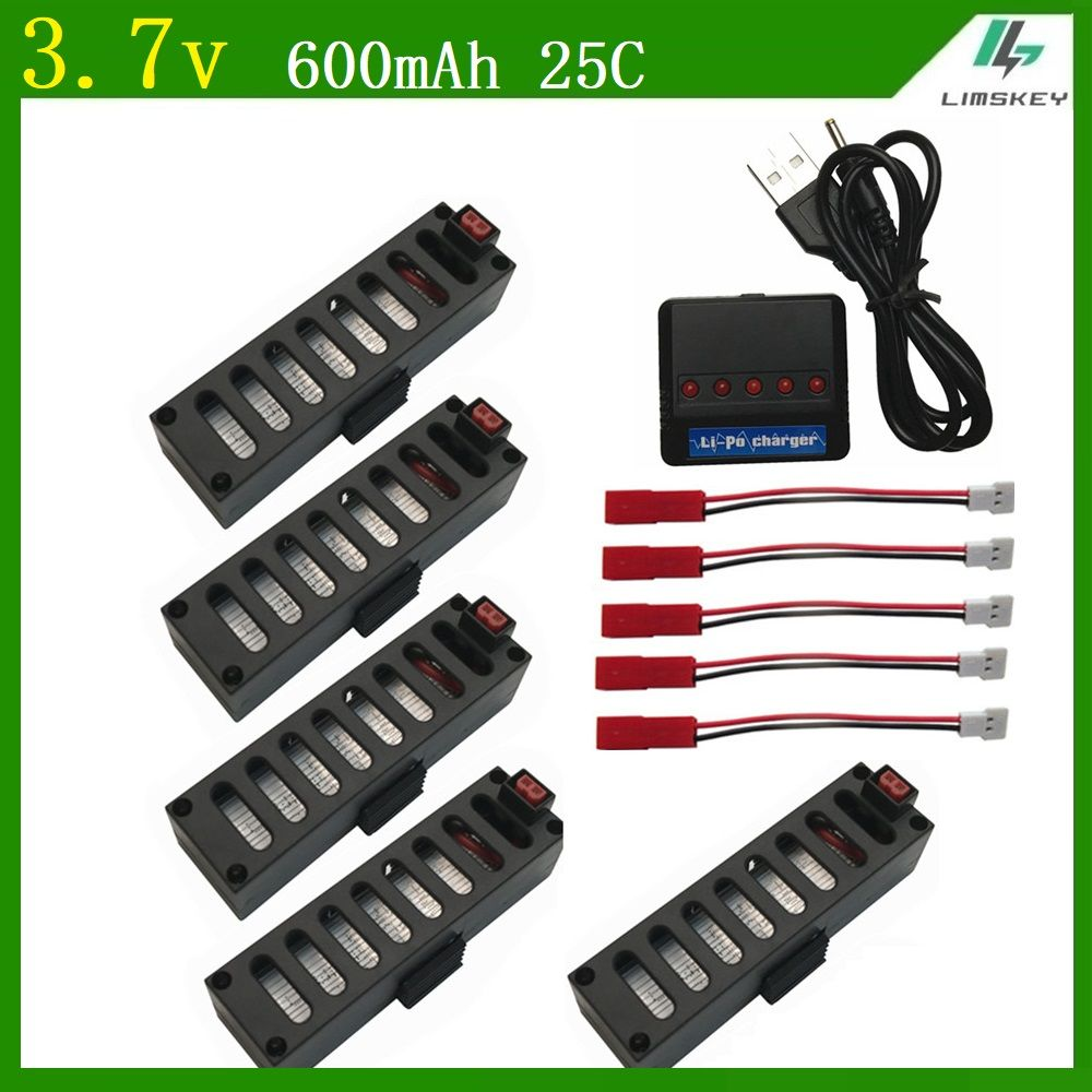High Quality 3.7V 600mAh 25C Battrey Part 5 in 1 usb charger for Quodcopter Drone for JY018 WiFi drone