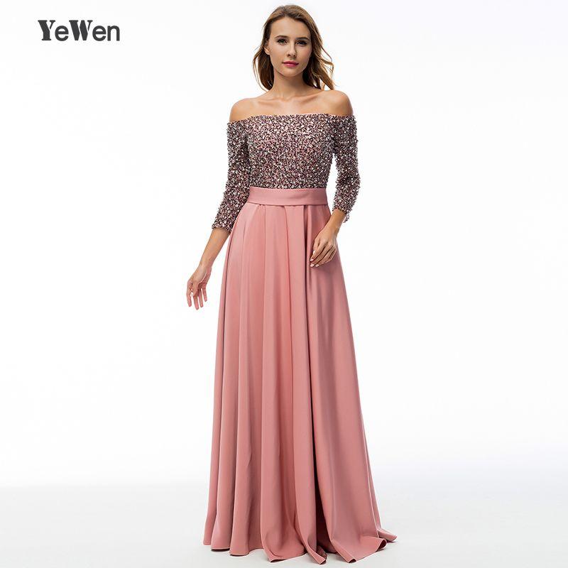 saudi arabia Deep Pink sequin long sleeve evening dress long 2018 formal gowns off shoulder mother of the bride dresses elegant