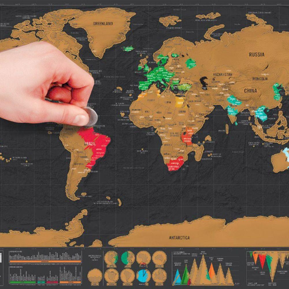 2017 Venta Caliente 1 Unid Palabra Negro Deluxe Mapa de Scratch Mapa del mundo Cartel Del Viajero de Vacaciones Entrar Regalo 82.5x59.5 cm