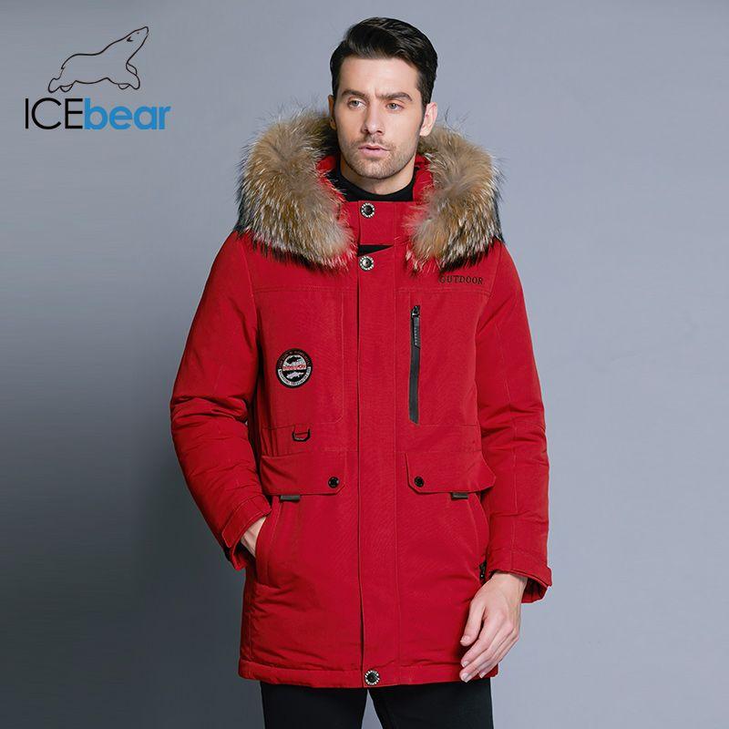 ICEbear 2018 neue herren winter unten jacke hohe qualität pelz kragen mantel abnehmbaren hut und pelz kragen männlichen der kleidung MWY18940D