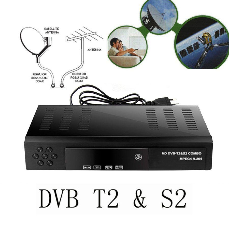 2017 спутниковый ресивер HD цифровой DVB T2 + S2 ТВ тюнер задолженность MPEG4 DVB-T2 ТВ приемник T2 тюнер бесплатная доставка поддержка bisskey