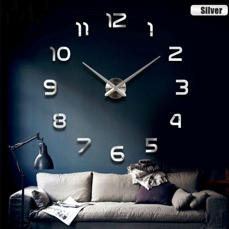 3d grande taille décor à la maison quartz bricolage horloge murale salon en métal acrylique miroir surdimensionné horloges murales bricolage miroir brève horloge moderne