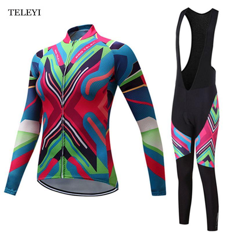 Teleyi Велоспорт Pro Team Женская с длинным рукавом Ropa Ciclismo Vélo зимняя Pro гоночный велосипед одежда форма S-4XL