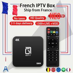 Français Boîte IPTV Android TV BOX avec 1 Année 1300 + Arabe Français IPTV belgique code Vivent TV et VOD XBMC préchargé livraison smart iptv boîte