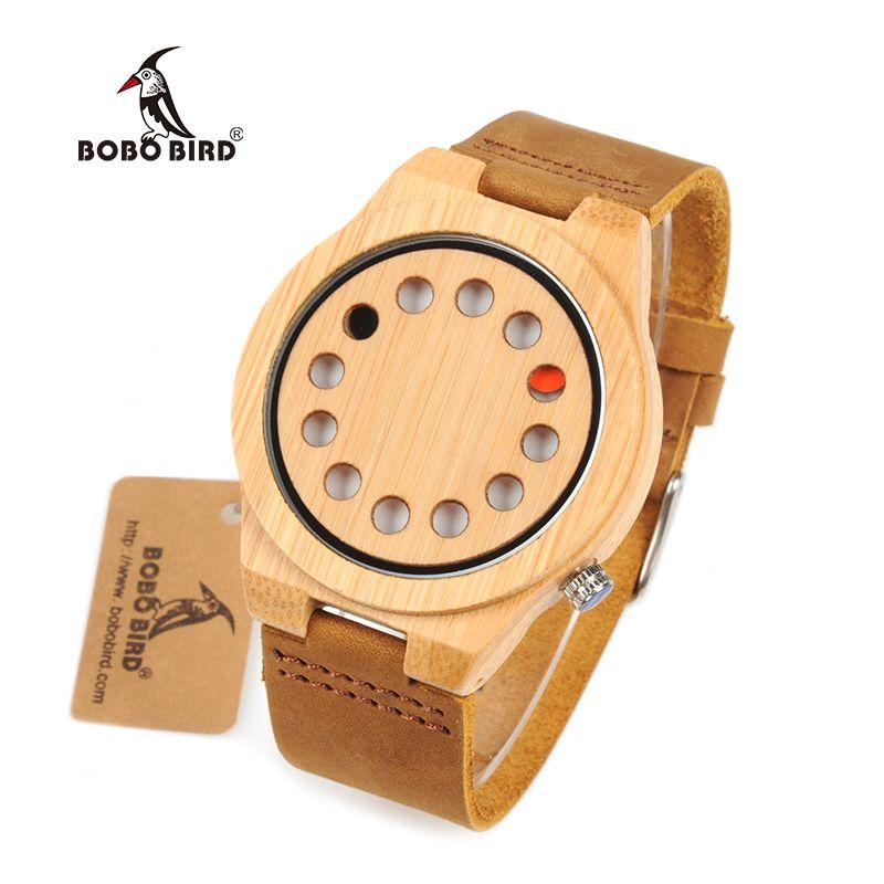 reloj hombre BOBO BIRD Men Watch Bamboo Quartz Watches Luxury Brand Design Wood Wristwatches Special Gift for Men W-D08