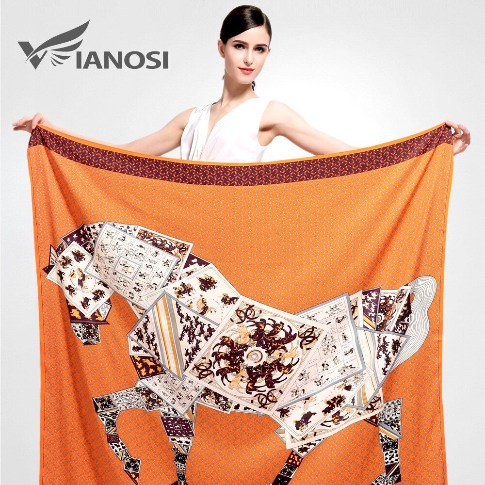 [VIANOSI] 6 Styles Newest Bandana Silk Scarf Square Women Scarves 130x130 Soft Fashion Print Big Size Horse Shawl Brand Package
