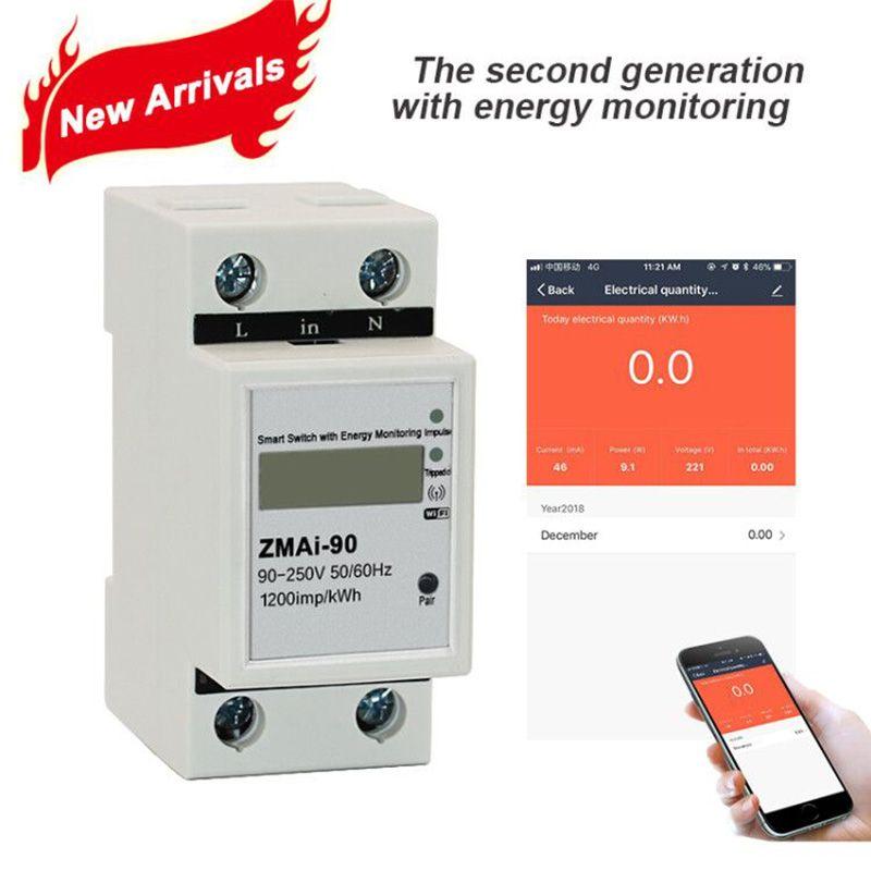 Smart Life APP Single phase Din rail WIFI Smart Energy Meter Power Consumption kWh Meter wattmeter 220V,110V AC 50Hz/60hz