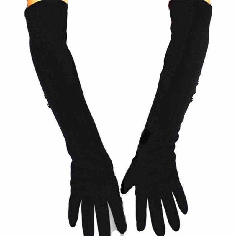48 cm long coton matériel femmes gants tricotés sur la longueur du coude armure velours doublure chaud printemps et automne spéciaux