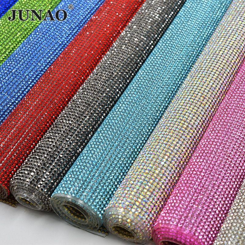 JUNAO 24*40cm paillettes colorées verre Strass maille garniture Hotfix cristal tissu feuilles Strass ruban Applique pour robe artisanat