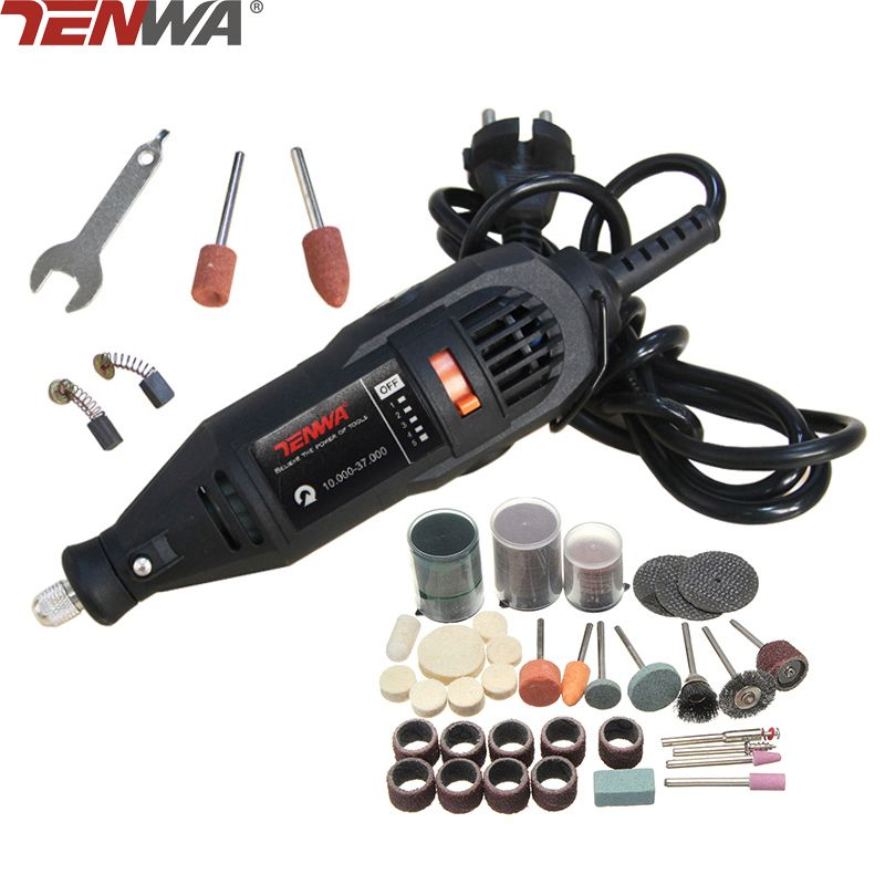 TENWA 180W Mini Drill Electric Engraver Grinder Variable Speed Electric Rotary Tool Set Grinder 110pcs Dremel Accessories DIY