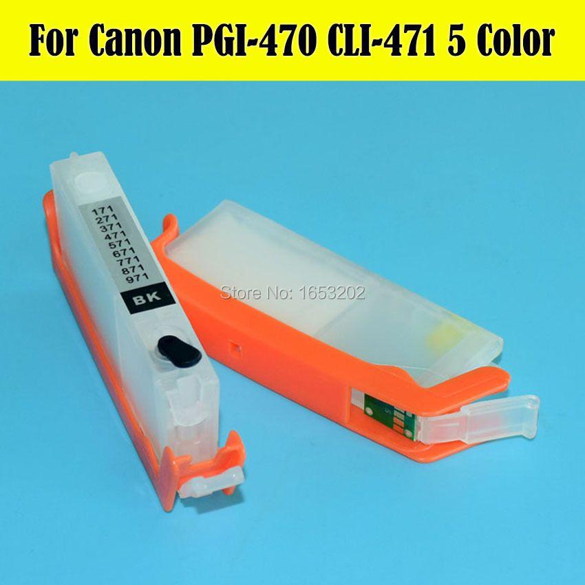 NEW!! 1 Lot 5 Color Empty Ink Cartridge PGI470 CLI471 For Canon PIXMA MG6840 MG5740 Printer