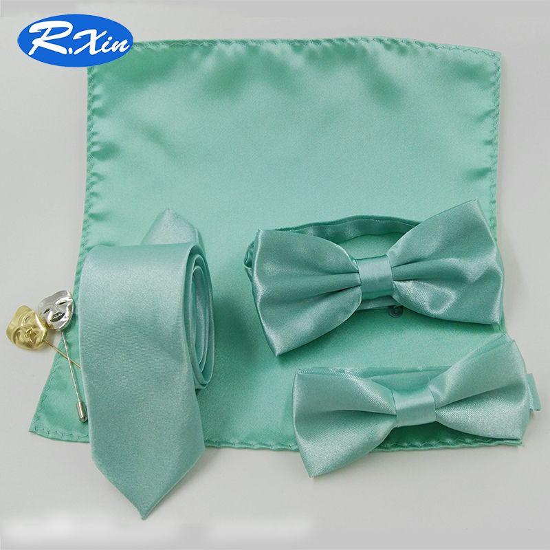Xin rojo Adultos Niños Niños de Moda Poliéster Menta Verde Arco Pajaritas Corbatas lazo Pocket square Conjunto de Lazos para los hombres de Mariposa corbata