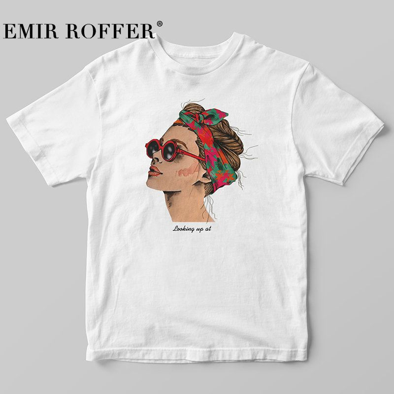 EMIR ROFFER 2019 mode impression Cool Femme T-shirt blanc coton femmes t-shirts décontracté Harajuku T-shirt Femme Top
