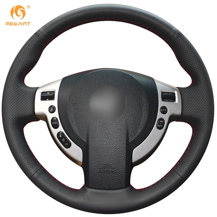 MEWANT Black Artificial Leather Car Steering Wheel Cover for Nissan QASHQAI X-Trail NV200 Rogue